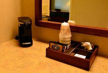 coffee bar in hotel room