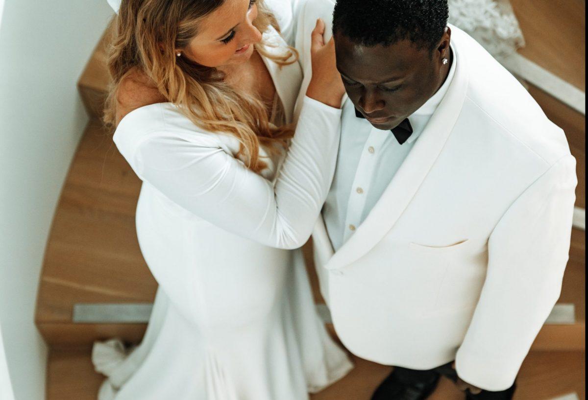 overhead of bride in annie lane bridal dress
