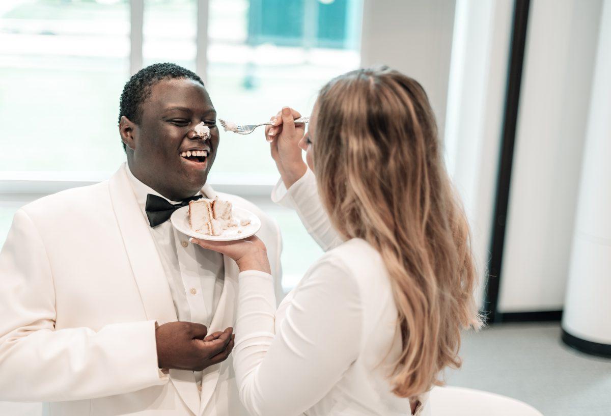 cake on groom's face